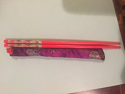 Japanese Red With Purple And Red Roses Chopsticks / Hair Sticks With Free Silk H
