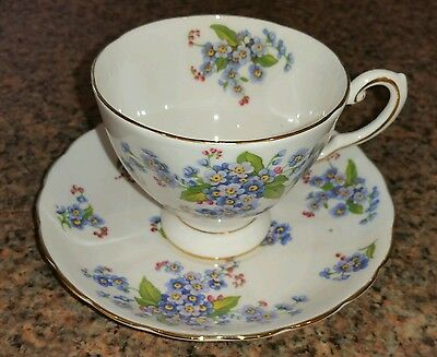 Vintage TUSCAN FINE BONE CHINA CUP AND SAUCER set FORGET ME NOT flower