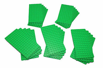 Genuine LEGO Base Plate 8x16 MiniFigure - LOT of 25 - BRIGHT GREEN Thin - NEW