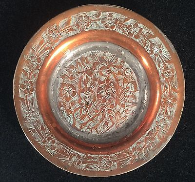 Antique Tinned Copper Etched Dish Birds Flowers Small Plate
