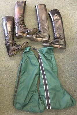 2 Pair Women's Horse Riding Equestrian Boots & Carrying Bag Neolite & E. Vogel