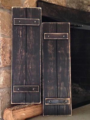 "Handmade Primitive Country Rustic Distressed Black Shutters 30"" / Set of 2"