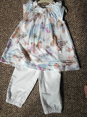 NEXT Gorgeous Butterfly Print Top & Matching White Pants 3-4 BNWT