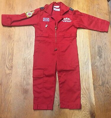 Red Zip Boiler Suit / Overalls Age 1-2 With Pockets