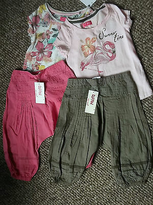 NEXT Gorgeous Floral & Pink Flamingo Tops with Pink & mink Hareem Pants BNWT 2-3