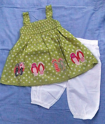 NEXT  Gorgeous Lime Spotty Flip Flop Smock Top With White Pants BNWT 4-5