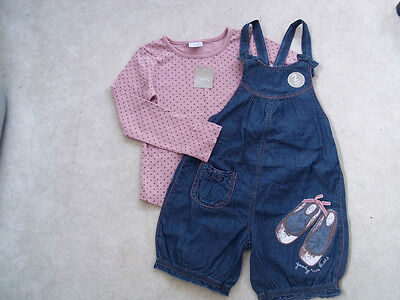 NEXT Gorgeous Goody Two Shoes Dungaree Playsuit & Dusty Pink Spotty Top  5-6