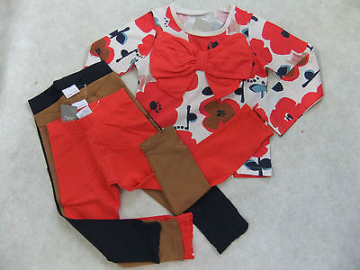 NEXT Floral Bow Top & 3 Pairs of Matching Leggings 3-4 BNWT