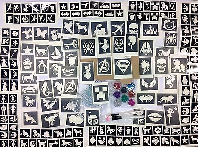 Glitter tattoo kit 170 stencils boy girl boxed fundraiser free minis for schools