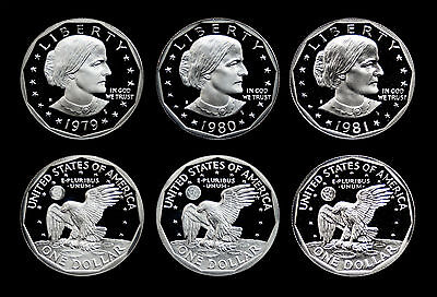 1979+1980+1981 PROOF Susan B Anthony Dollar (SBA) Lot // GEM PROOF DCAM
