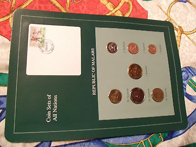 Coin Sets of All Nations Malawi 1995-1996 w/card UNC 1 Kwacha 50,20 Tambala 96