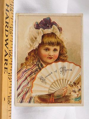 Victorian Reward Of Merit Card Beautiful Child Holding Fan Cat F32