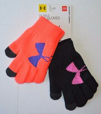 Girl's Youth Under Armour Knit Gloves With Tech Touch Fingertips 2-pack