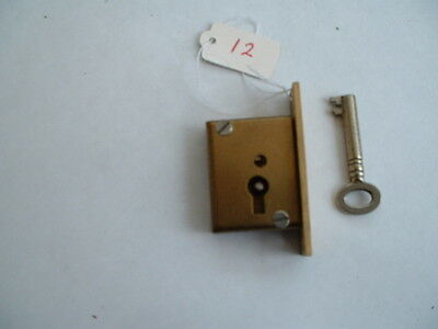 "1 x Old  solid brass mortise Lock & key Unused Old Stock  2 "" x 1 1/4"" x 1/2"""