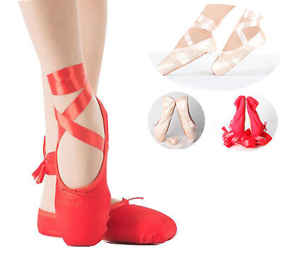 Women Ladies Satin Pink Red Professional Ballet Dance Toe Shoes Pointe Shoe Size