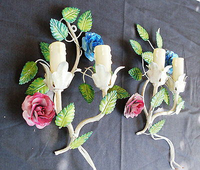 Vintage Italian Pair of Floral Colored Sconces with wrought iron flowers, wall