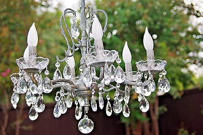 Vtg Crystal Chandelier, Spanish Brass/Metal 6 Arm/Bulb w 6 Small Decorative Arms