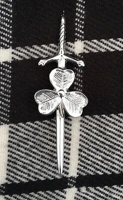 Scottish Kilt Pin Irish Shamrock Chrome Finish/Highland Thistle Hilt Kilt Pin