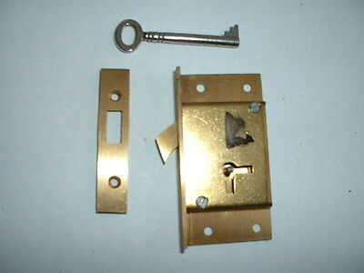"1 x Old solid brass hook Lock & key Unused Old Stock 3"" x 1 5/8"" x 1/2"" l/h"