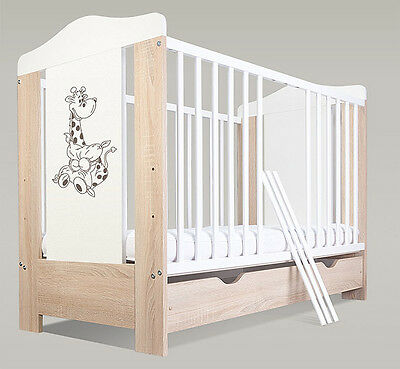 Baby cot with drawer/ baby cots/ 3 colours + free mattress theme giraffe