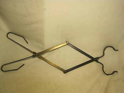 Vintage fireplace scissor style log claw grabber grab tong metal arm extension