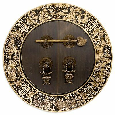 Chinese Brass Hardware Blessings for Long Life Cabinet Face Plate 9-1/2''