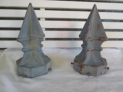 Large Antique Iron Gothic Victorian Style Gate Post Finials Toppers Caps, Pair