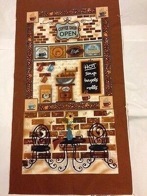 Fabric Panel 100% cotton  COFFEE SHOP KITCHEN WALL HANGING FREE POST