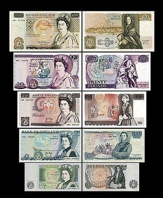 2x 1 , 5,  10, 20, 50 English Pounds - Issue ND 1971 - 1993 - 10 Banknotes - 02