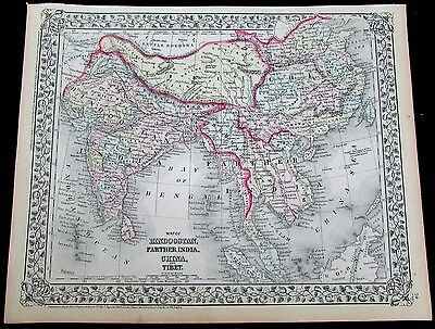 China Southeast Asia 1872 Farther India Hindoostan Siam Anam antique map