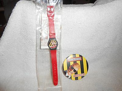 Coca-Cola Max Headroom Wrist Watch & Pin Back Both in Mint Condition