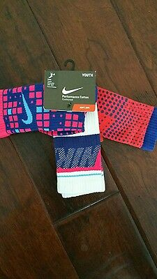 GIRLS Nike Youth Crew Socks Shoe Size S small 3Y-5Y Cotton 3 Pack