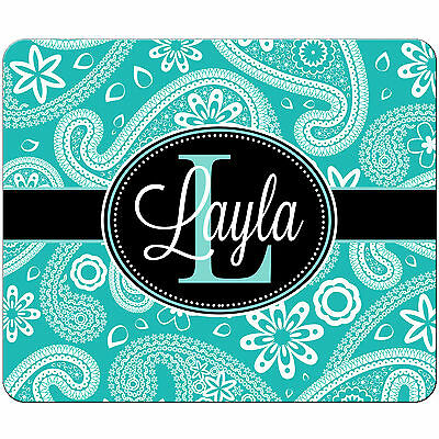 Personalized Mouse Pad Teal Paisley Black Monogrammed Rectangle Mousepad
