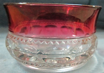 """Imperial Glass Company """"Kings Crown"""" Cranberry & Clear Glass Ice Cream Bowl"""
