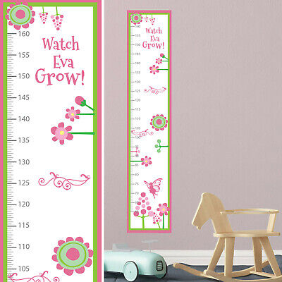 Personalised CANVAS Large Height Growth Chart Pink Fairy Princess  Add Name DOB