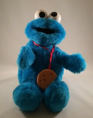 Tyco Sesame Street Yum Yum Cookie Monster 1997- Stuffed Talking & Moving Plush