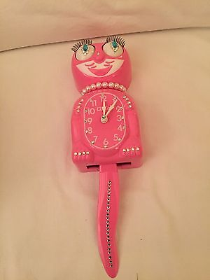 FLAMINGO PINK  KIT CAT KLOCK LIMITED ED Austrian Crystals MADE USA NOS In Box