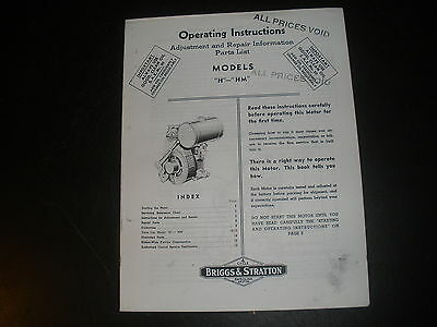 Briggs & Stratton Gas Engine model H Operating Instruction Manual Reprint