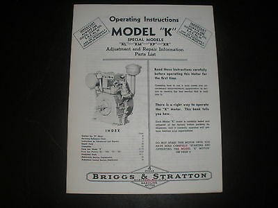 Briggs & Stratton Gas Engine model K Operating Instruction Manual Reprint