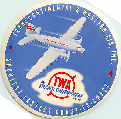 Transcontinental & Western Air ~TWA AIRLINE~  Luggage Label, c. 1955