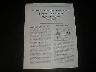 Briggs & Stratton Gas Engine model S Operating Instruction Manual Reprint