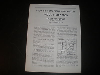 Briggs & Stratton Gas Engine model T Operating Instruction Manual Reprint