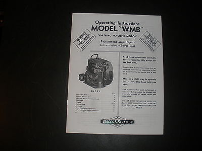 Briggs & Stratton Gas Engine model WMB Operating Instruction Manual Reprint