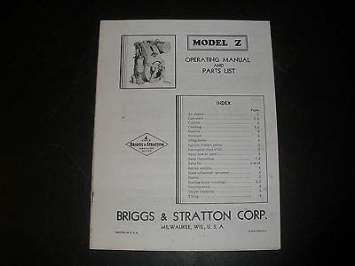 Briggs & Stratton Gas Engine model Z Operating Instruction Manual Reprint