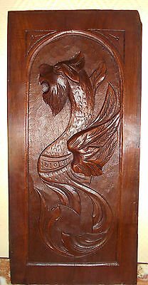 French Carved Oak Panel Chimera Dragon Gothic 19th C