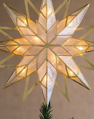 "14"" Christmas Tree Topper Timeless Double Sided Starburst Theme Happy Holidays"