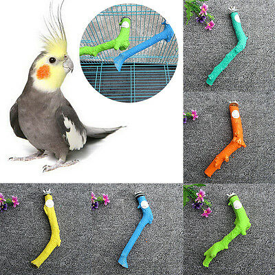 Colorful Pet Bird Parrot Budgie Chew Toy Paw Grinding Stand Perches Cage Hanging