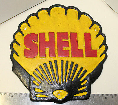 Cast Iron SHELL Sign Shell Shaped Painted Metal Plaque Reproduction
