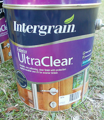 "INTERGRAIN ULTRACLEAR EXTERIOR 'SATIN"" in 4 litre cans  water based"