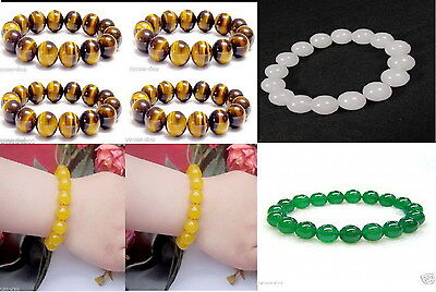 Asian Natural Tiger Eye / Jade 8mm-18mm Beads Elastic Jewelry Bracelet